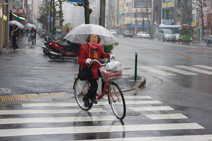 Típica imagen en Tokyo con el paraguas en la boci.