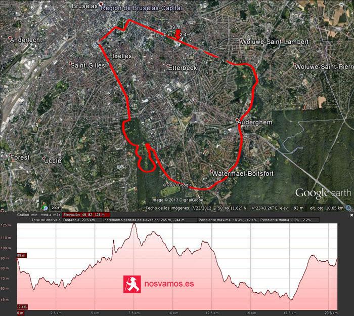 Mapa y altimetría de los 20km de Bruselas en Google Hearth