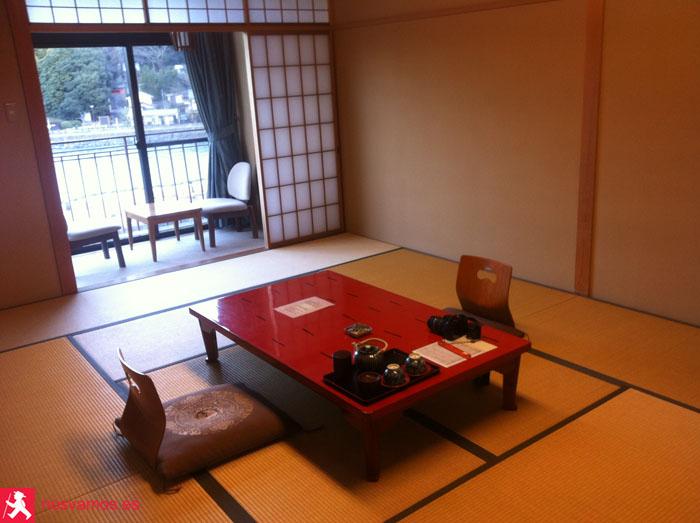 Nuestra habitación en el Ryokan en Uji