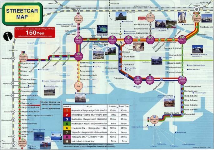 Mapa de transporte urbano de Hiroshima