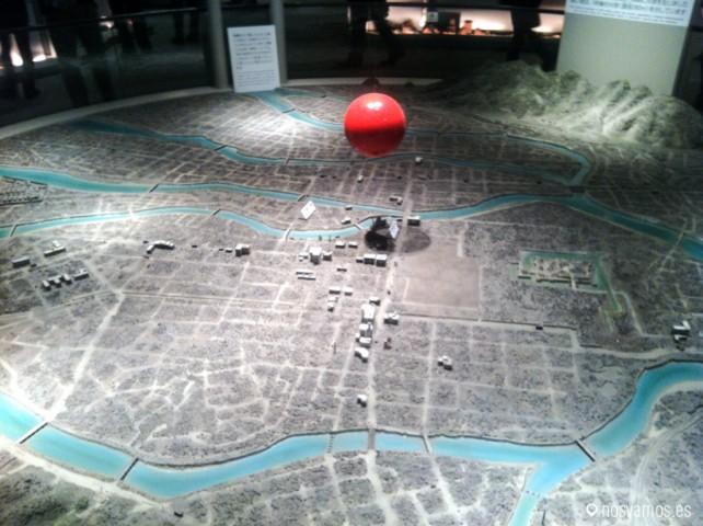 Imagen del epicentro de la explosión de la bomba atómica