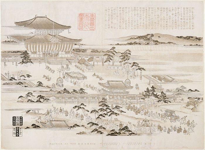 Antigua perspectiva mostrando el templo de Todai-ji. Fuente: Biblioteca de la Prefectura de Nara.