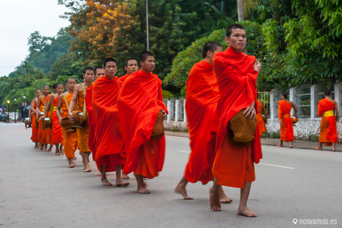 Ceremonia del Tak Bat, la gente da comida a los monjes a las 5 de la mañana © Juan José Cacho