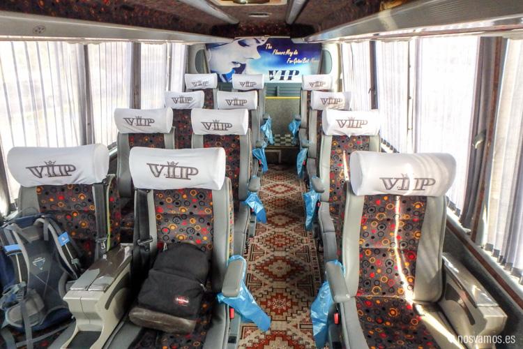 Interior de un autobús VIP