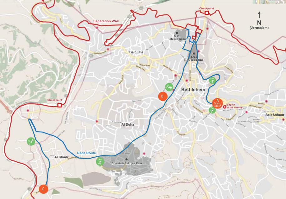 Recorrido maratón de Palestina en Belén